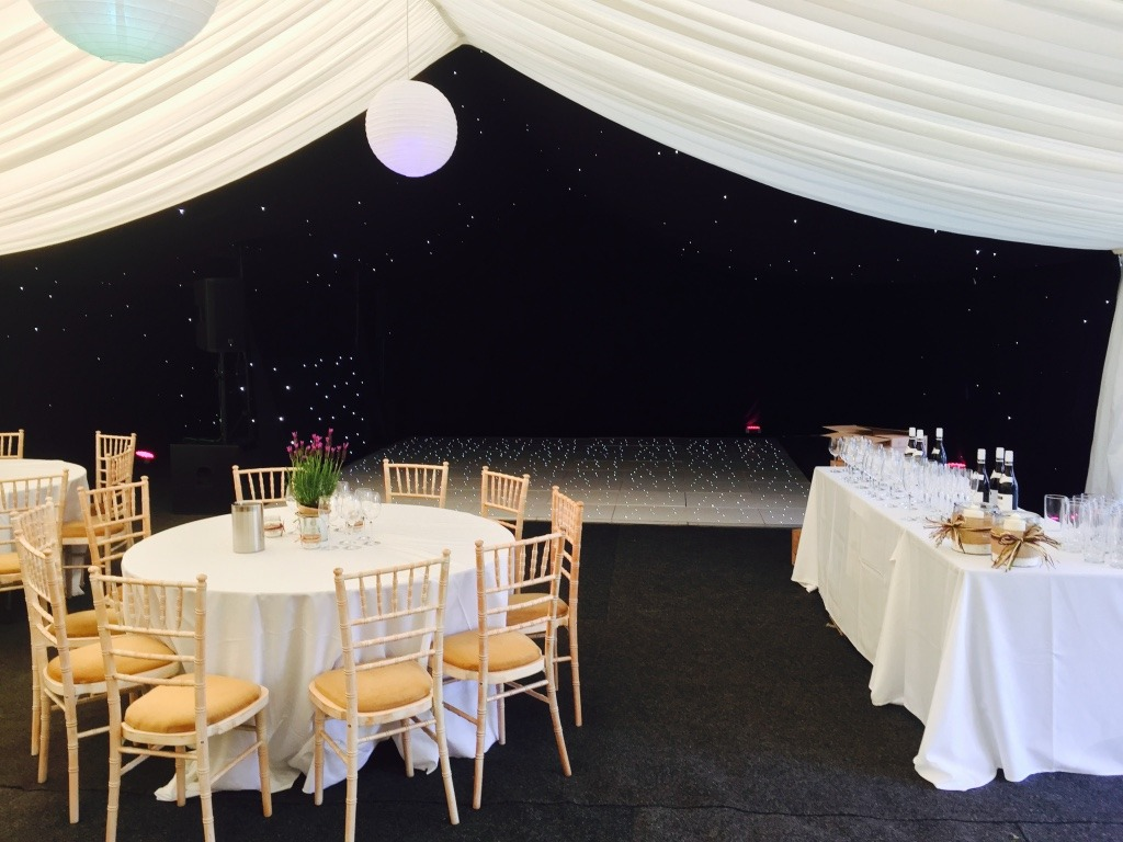 Frame Marquee with Black LED Starlight Roof and White LED Dancefloor
